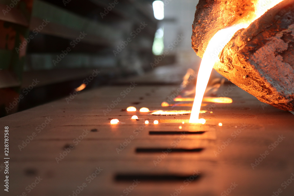 Fototapety, obrazy: Iron molten metal pouring in sand mold