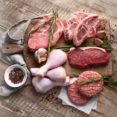 Fototapeta Different types of raw meat