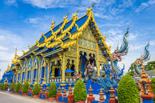 Wat Rong Sua Ten Temple With Blue Sky Background, Chiang Rai Province, Thailand, It's A Popular Destination And Landmark Of Chiang Rai