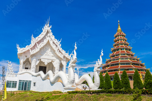 Staande foto Temple Landscape of Wat Huay Pla Kung temple with white temple travel destination the famous place religious attractions of Chiang Rai province, Northern of Thailand.