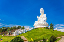 Landscape Of Wat Huay Pla Kung Temple Statue Of Guan Yin Travel Destination The Famous Place Religious Attractions Of Chiang Rai Province, Northern Of Thailand.