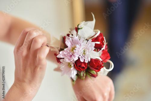 Tableau sur Toile beautiful fresh floral bracelet for the bride