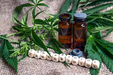 Bottle With Hemp Oil And Canna...