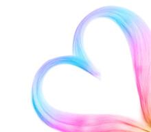 Heart Made Of Blond Hair Locks On White Background