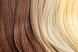 Strands of different color hair as background, closeup