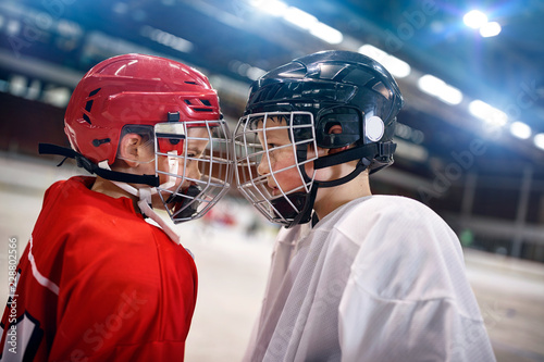 Ice Hockey - boys players rival.