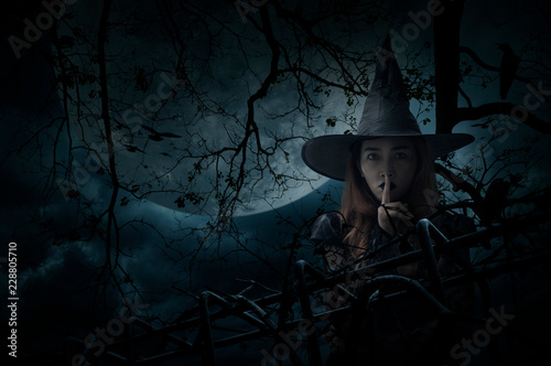 Fotografie, Obraz Halloween witch showing silence sign with finger over lips standing over dead tr