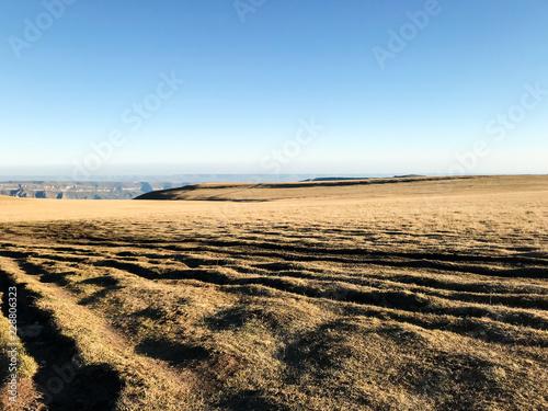 Deurstickers Asia land wheel tracks on Bermamyt mountain Plateau