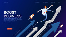 Boost Business Isometric Concept Banner
