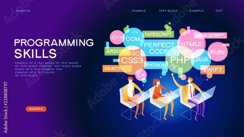 PROGRAMMING SKILLS concept banner - Buy this stock vector