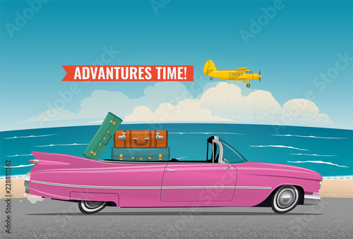 Recess Fitting Cars Cartoon styled side view pink vintage car cabriolet with luggage on board, on the beach road. Travel themed vector illustration for your poster, or flyer or banner for your promotion.