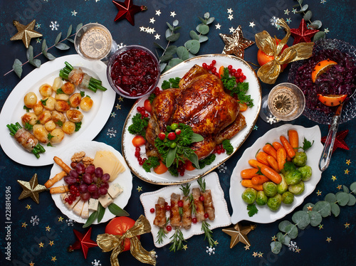 Concept of Christmas or New Year dinner. Top view. Poster Mural XXL