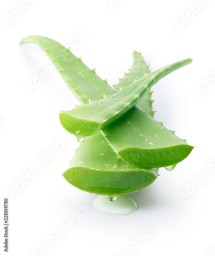 Aloe vera dripping on white background - clipping path included
