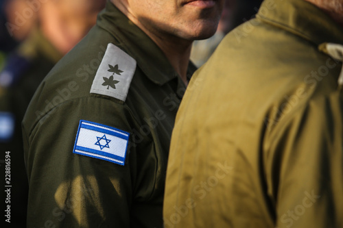 Fotografía  Israeli flag on a military medic uniform