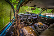 Interior Of Forgotten Car Decaying In The Garden, Urbex Czech Republic