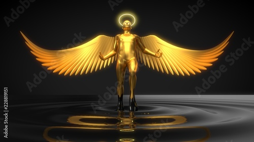 Photographie golden angelic character rising from black liquid