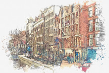 Illustration Or Watercolor Sketch. Traditional Old Architecture In Amsterdam. European Architecture. Everyday City Life.
