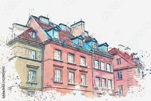 Fototapety Polska a-watercolor-sketch-or-illustration-of-a-traditional-street-with-apartment-buildings-in-warsaw-poland