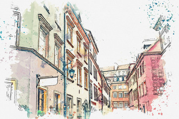 NaklejkaA watercolor sketch or illustration of a traditional street with apartment buildings in Warsaw, Poland.