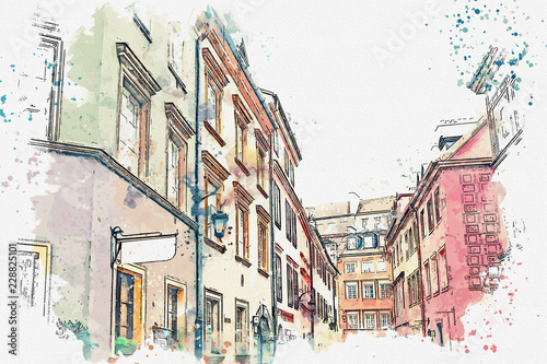 a-watercolor-sketch-or-illustration-of-a-traditional-street-with-apartment-buildings-in-warsaw-poland