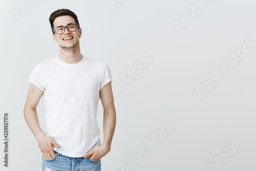 Fototapeta  Successful pleased european IT guy celebrating signing good deal with investors,