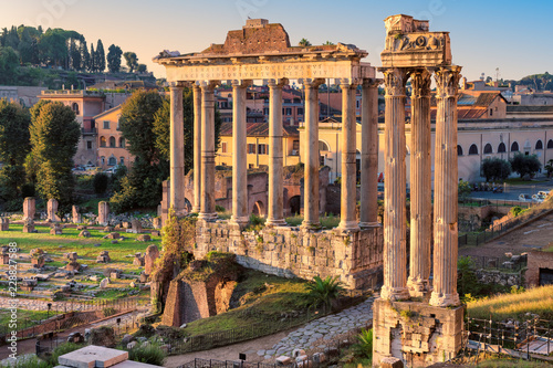 Deurstickers Rudnes Ruins of Roman's forum at sunrise, ancient empire, Rome, Italy.