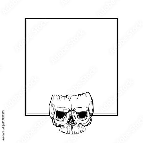 Skull Frame Design Horror Style Decorative Border Isolated