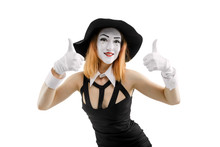 Female Mime Showing Thumbs Up