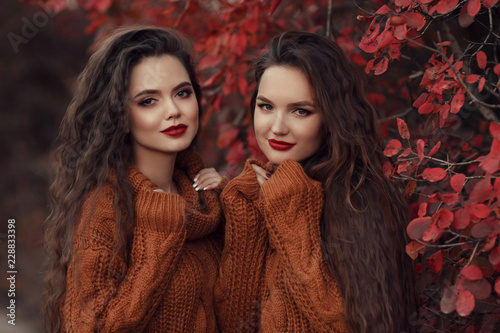 Photo  Two Women autumn outdoor portrait