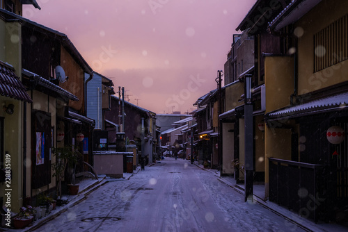 snowing street Canvas Print