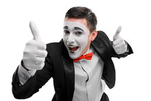 Happy Mime Showing Thumbs Up