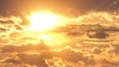 Beautiful yellow cloudscape with large sun. 4K timelapse.