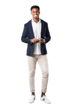Full Body Of Handsome African American Man Wearing A Jacket Talking To Mobile On White Background