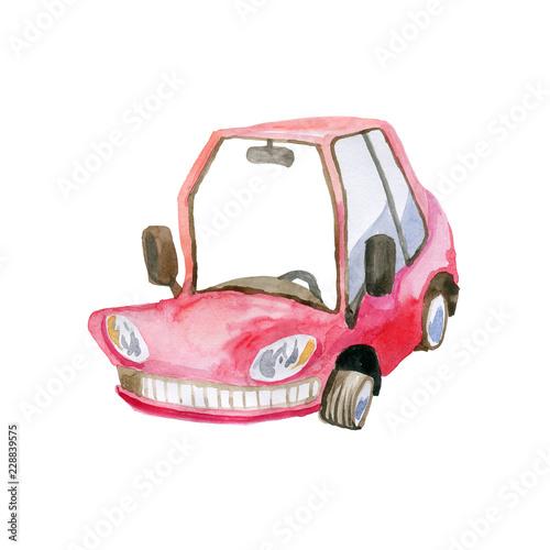 Staande foto Cartoon cars Machine red half turn