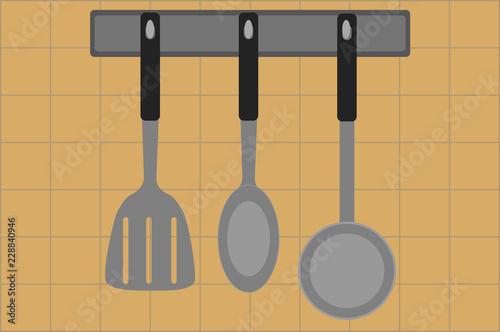 Fotografía  Espátula, cuchara, y cucharón de cocina.