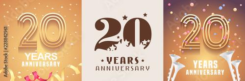 Fotografía  20 years anniversary set of vector icon, symbol