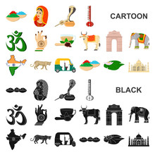 Country India Cartoon Icons In Set Collection For Design.India And Landmark Vector Symbol Stock Web Illustration.