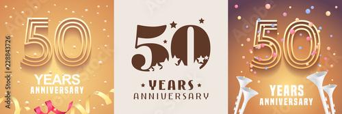 Photo 50 years anniversary set of vector icon, symbol