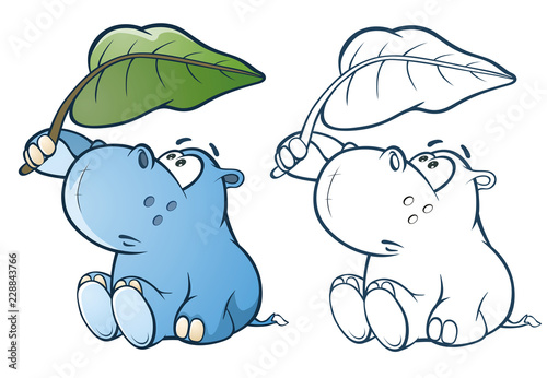 Staande foto Babykamer Illustration of a Cute Little Hippo Cartoon Character. Coloring Book. Outline