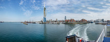Skyline Portsmouth Ferry To Isle Of Wight. Harbour. Panorama  Isle Of Wight. England United Kingdom