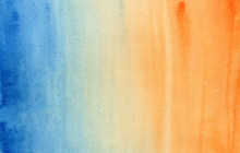 Horizontal Gradient From Blue To Orange Watercolor Background, Wash Technique. Bright Sky And Water Watercolour Textured Concept
