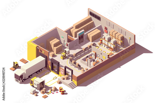 Cuadros en Lienzo Vector isometric low poly warehouse cross-section