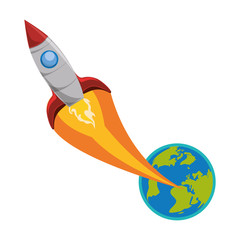 world planet earth with rocket flying