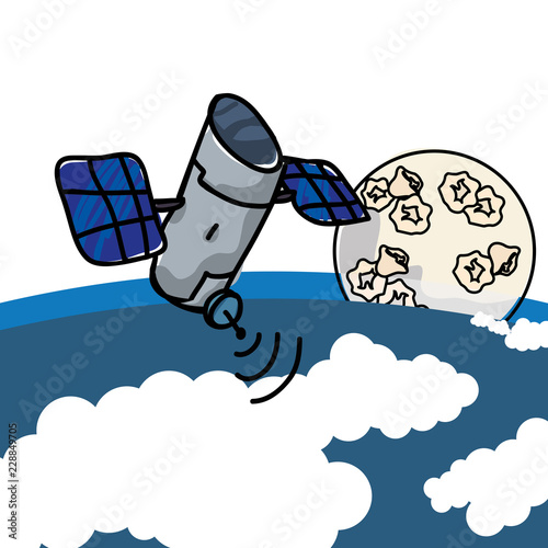 Papel de parede artificial satellite orbiting with earth planet and moon