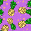 canvas print picture - Seamless pattern with pineapples on pink background with stars. Wallpaper and purple design.