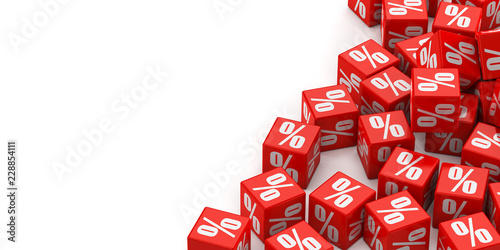 Cuadros en Lienzo Red cubes with percent on a white background
