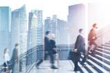 Fototapeta Fototapety na drzwi - Business people on career ladder