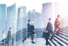 Business People On Career Ladder