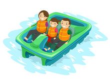 Stickman Family Kid Paddle Boat Illustration