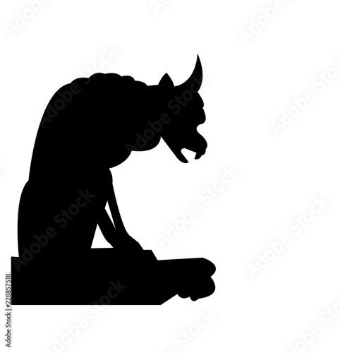 Fotografie, Obraz Black gargoyle silhouette, isolated on white